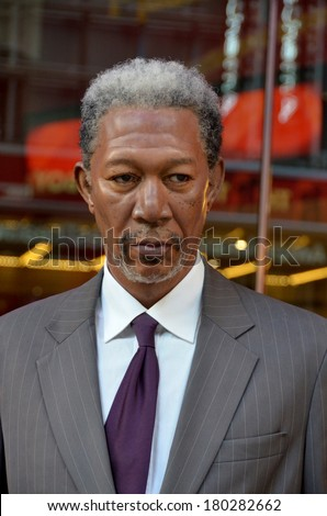 NEW YORK, USA OCTOBER 2: Morgan Freeman wax figure in exhibition at the Madame Tussauds Wax Museum in New York. Landmark of NY, Madame Tussauds exhibits wax figures of famous people on oct. 2013 in NY - stock photo