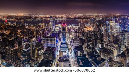 NEW YORK, USA - October 17, 2016. New York, Manhattan Aerial View at Night form the Empire State Building
