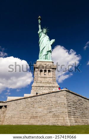 NEW YORK, USA - OCTOBER 8, 2014: Statue of Liberty at New York City is given the USA by France in 1885, standing at Liberty Island at Hudson river in New York. - stock photo