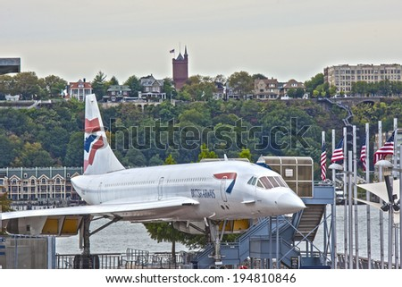 New York,USA - October 10: Supersonic Passenger Airplane Concorde on Display as a Tourist Attraction in intrepid Museum in Manhattan, New York City, in October, 10, 2013, United States - stock photo