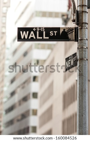 New York, USA - October 03, 2013: This Wall Street sign is at the corner directly adjacent to the New York Stock Exchange building.