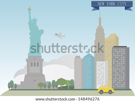 New York, USA. Raster version for you design - stock photo