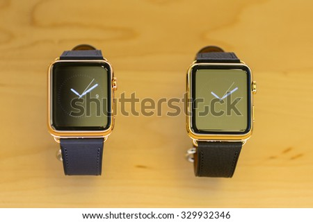 NEW YORK, USA - SEP 22, 2015: Apple watch section at the Apple store on the Fifth Avenue, New York. The store sells Macintosh personal computers, software, iPod, iPad, iPhone, Apple Watch, Apple TV - stock photo