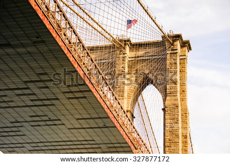 NEW YORK, USA - SEP 25, 2015: Brooklyn bridge, New York City, USA. New York is the most populous city in the United States of America - stock photo