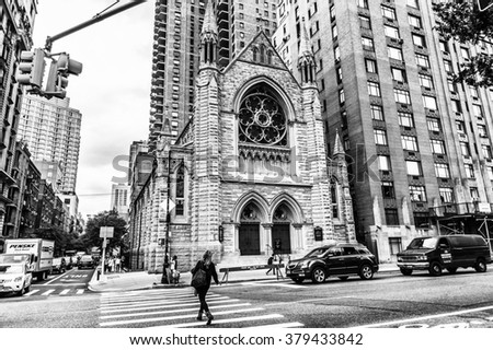 NEW YORK, USA - SEP 22, 2015: Church on the Eighth avenue (Manhattan). 8 avenue begins in the West Village neighborhood at Abingdon Square