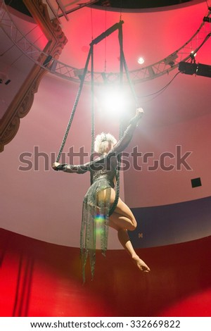 NEW YORK, USA - SEP 22, 2015: Interior of the Madame Tussaud  wax museum, TImes Square, New York City. Marie Tussaud was born as Marie Grosholtz in 1761