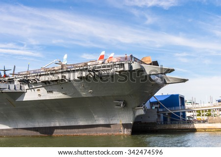 NEW YORK, USA - SEP 25, 2015: Intrepid Sea, Air and Space Museum, a military and maritime history museum, originally  founded in 1982