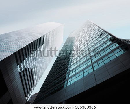NEW YORK, USA - Sep 28, 2015: Manhattan modern architecture. Manhattan is the most densely populated of the five boroughs of New York City - stock photo
