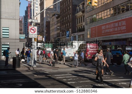 NEW YORK, USA - Sep 22, 2016: New York and New Yorkers. Manhattan street scene. The Americans on the streets of New York City