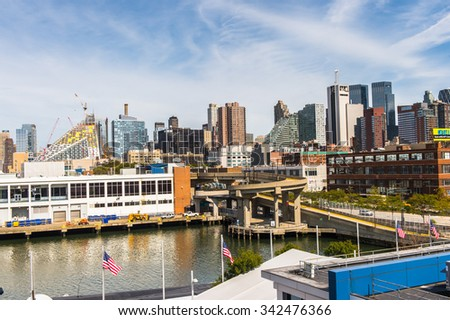 NEW YORK, USA - SEP 25, 2015: New York from USS Intrepid (The Fighting I), one of 24 Essex-class aircraft carriers built during World War II for the United States Navy (Intrepid Museum)