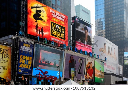 NEW YORK, USA - SEP 16, 2017: Promo boards, Manhattan, New York City, United States of America