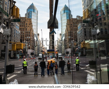NEW YORK, USA - Sep 27, 2015: Streets of Manhattan. Manhattan is the most densely populated of the five boroughs of New York City - stock photo