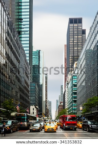 NEW YORK, USA - Sep 28, 2015: Streets of Manhattan. Manhattan is the most densely populated of the five boroughs of New York City - stock photo