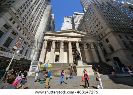 NEW YORK, USA - SEP 07, 2014: The historical building of Federal Hall on Wall Street in New York