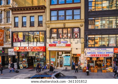 NEW YORK, USA - SEP 25, 2015: Typical buildings of Manhattan, New York City, USA. New York is the most populous city in the United States