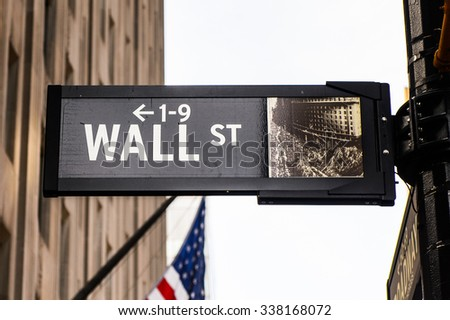 NEW YORK, USA - SEP 25, 2015: Wall Street, a eight blocks street in the Financial District of lower Manhattan, New York City. - stock photo