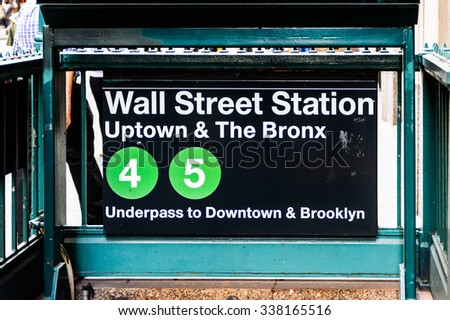NEW YORK, USA - SEP 25, 2015: Wall Street Subway station at Wall Street, a eight blocks street in the Financial District of lower Manhattan, New York City. - stock photo