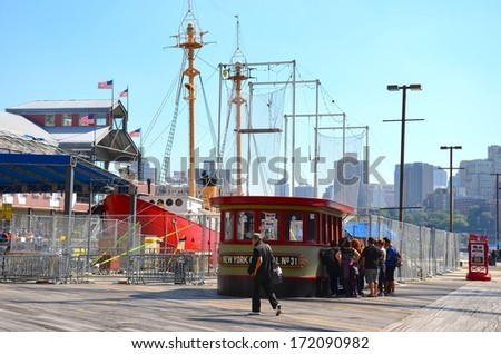 NEW YORK , USA - SEPTEMBER 20: Pier 17 at Lower Manhattan in New York on September 20, 2013. South Street Seaport is a historic area in the New York City of Manhattan on the East River area.