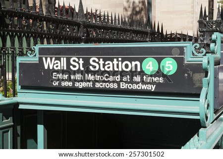 NEW YORK, USA-SEPTEMBER 27, 2014: Subway entrance in Lower Manhattan at Broadway. In 2013, the New York subway delivered over 1.71 billion rides. - stock photo