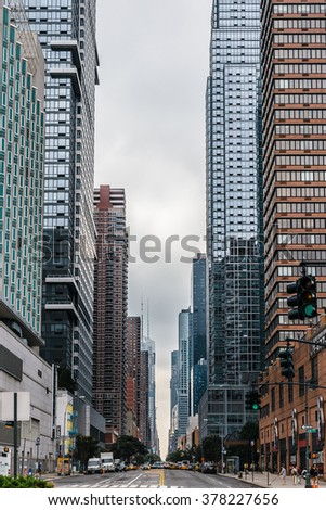 New York, USA -  6 September 2014:  View looking up West 42nd Street from 12th Avenue in Manhattan