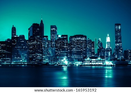 New York - view of Manhattan Skyline by night - stock photo
