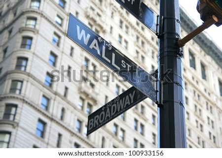 New York Wall street and Broadway street sign - stock photo