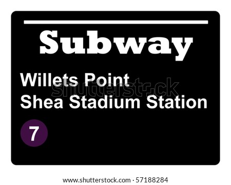 New York Willets Point Shay Stadium subway train sign isolated on black background.