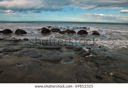 New Zealand boulders - stock photo