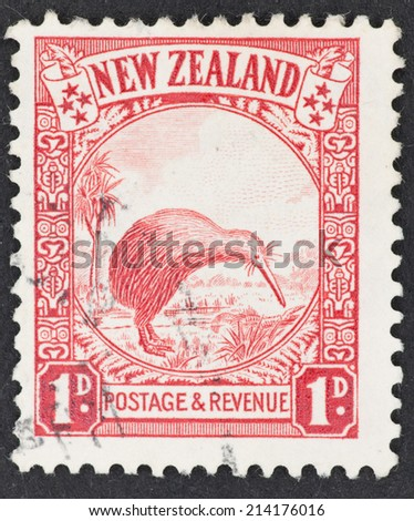 NEW ZEALAND - CIRCA 1935: A Cancelled postage stamp from New Zealand illustrating a Kiwi, issued in 1935. - stock photo