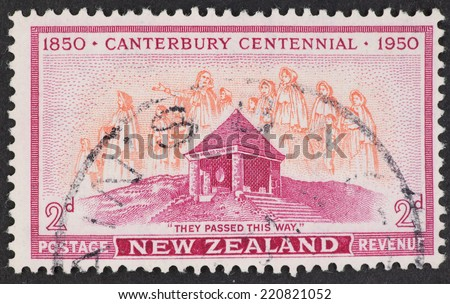 NEW ZEALAND - CIRCA 1950: A Cancelled postage stamp from New Zealand illustrating Canterbury Centennial, issued in 1950.