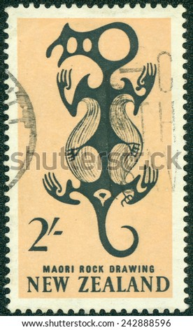NEW ZEALAND - CIRCA 1960: A Cancelled postage stamp from New Zealand illustrating Maori rock Drawing, issued in 1960. - stock photo