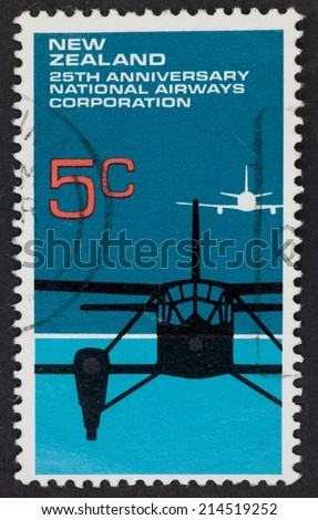 NEW ZEALAND - CIRCA 1972: A Cancelled postage stamp from New Zealand illustrating 25th Anniversary of the National Airways Corporation, issued in 1972.