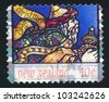 NEW ZEALAND - CIRCA 1996: A stamp printed by New Zealand, shows Man Travelling to Bethlehem, circa 1996 - stock photo