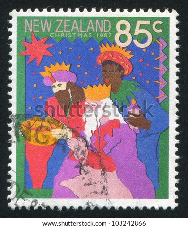 NEW ZEALAND - CIRCA 1987: A stamp printed by New Zealand, shows Three Men in Crowns, circa 1987