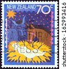 "NEW ZEALAND - CIRCA 1987: A stamp printed in New Zealand from the ""Christmas "" issue shows Away in a Manger, circa 1987.  - stock photo"