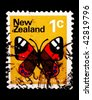 NEW ZEALAND - CIRCA 1965: A stamp printed in New Zealand shows image of a red admiral butterfly, series, circa 1965 - stock photo