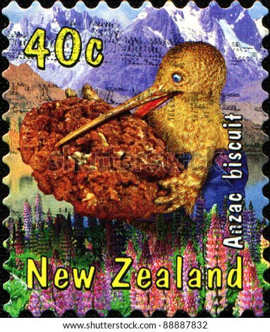 NEW ZEALAND - CIRCA 2000: A stamp printed in New Zealand shows kiwi bird holding in its beak Anzac biscuit, circa 2000