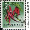 NEW ZEALAND - CIRCA 1967: A stamp printed in New Zealand shows Kowhai Ngutu-kaka or Kaka Beak - Clianthus puniceus are small, woody legume trees in the genus Sophora, circa 1967 - stock photo