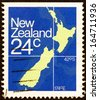 NEW ZEALAND - CIRCA 1982: A stamp printed in New Zealand shows Map of New Zealand, circa 1982.  - stock photo