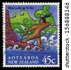 NEW ZEALAND - CIRCA 1994: A stamp printed in New Zealand shows myth Maui pulls up fish Te Ika, circa 1994 - stock photo