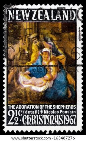 NEW ZEALAND - CIRCA 1967: A stamp printed in New Zealand shows The adoration of the shepherds (detail), Nicolas Poussin, circa 1967  - stock photo