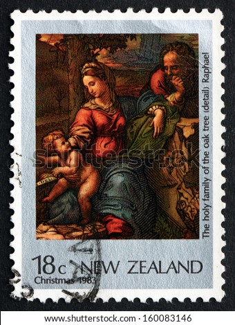 NEW ZEALAND - CIRCA 1983: a stamp printed in the New Zealand shows Holy Family of the Oak Tree, Painting by Raphael, Christmas, circa 1983 - stock photo