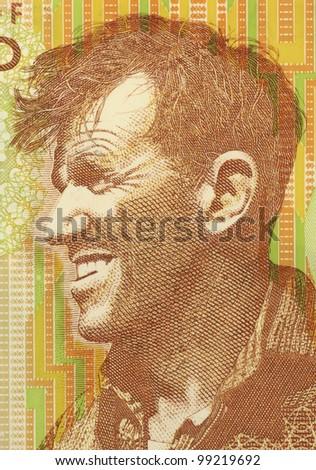 NEW ZEALAND - CIRCA 1999: Edmund Hillary (1919-2008) on 5 Dollars 1999 Banknote from New Zealand. New Zealand mountaineer, explorer and philanthropist. - stock photo
