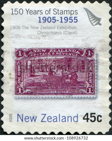 NEW ZEALAND - CIRCA 2005: Postage stamps printed in New Zealand, is dedicated to the 150th anniversary postage stamp NZ, shows Maori Art, circa 2005 - stock photo