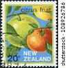 NEW ZEALAND - CIRCA 1983: Postage stamps printed in New Zealand, shows Pomelo and Orange, circa 1983 - stock photo