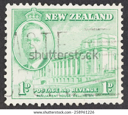 NEW ZEALAND - CIRCA 1900's: A Cancelled postage stamp from New Zealand illustrating Parliament house in Wellington.