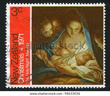 NEW ZEALAND - CIRCA 1971: stamp printed by New Zealand, shows Holy Night, by Carlo Maratta, circa 1971