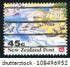 NEW ZEALAND - CIRCA 1992: stamp printed by New Zealand, shows Scenic Views of New Zealand, Rocky shoreline, circa 1992 - stock photo