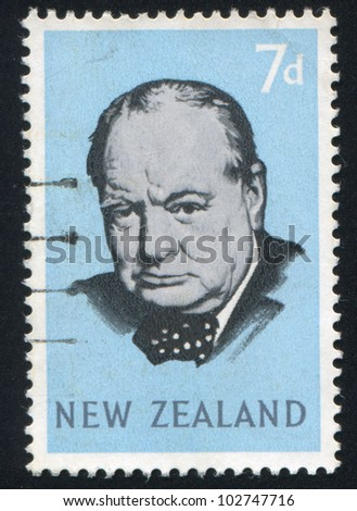NEW ZEALAND - CIRCA 1965: stamp printed by New Zealand, shows Sir Winston Spencer Churchill, circa 1965