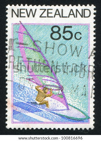 NEW ZEALAND - CIRCA 1987: stamp printed by New Zealand, shows Tourism, Windsurfing, circa 1987